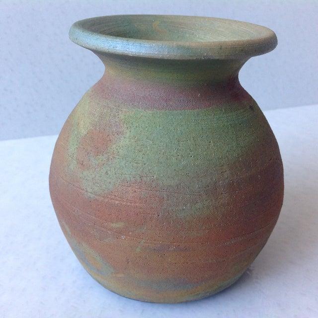 Earth Tone Raku Pottery Vase - Image 3 of 11
