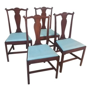 Mid-Century Chippendale Style Mahogany Dining Chairs - Set of 4 For Sale