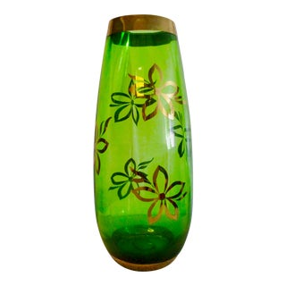 Mid Century Modern Green Glass Hand Painted Ribbed Cylindrical Vase For Sale