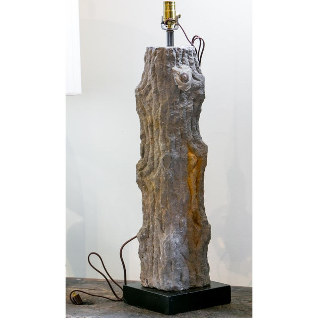 Carved Limestone Faux Bois Table Lamp For Sale - Image 9 of 9