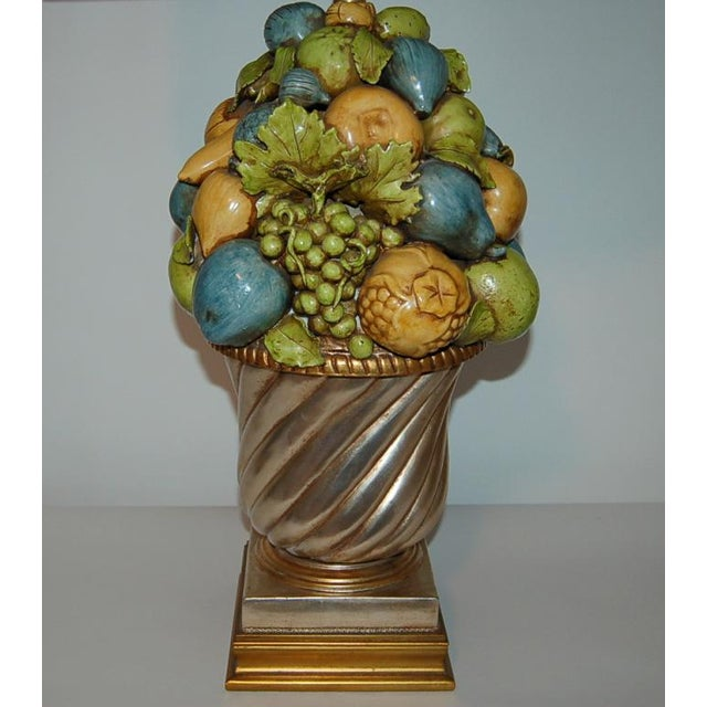 The Marbro Lamp Company Marbro Italian Ceramic Fruit Bowl Table Lamp For Sale - Image 4 of 10