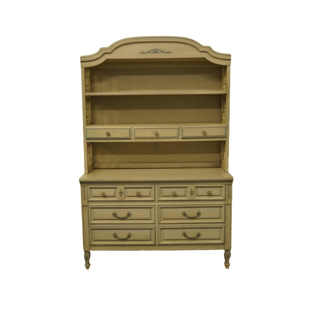 French Provincial Dixie Furniture Cream Painted Double Dresser with Bookcase Hutch For Sale - Image 11 of 11