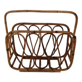 Circa 1960s Scorched Bamboo Large Basket