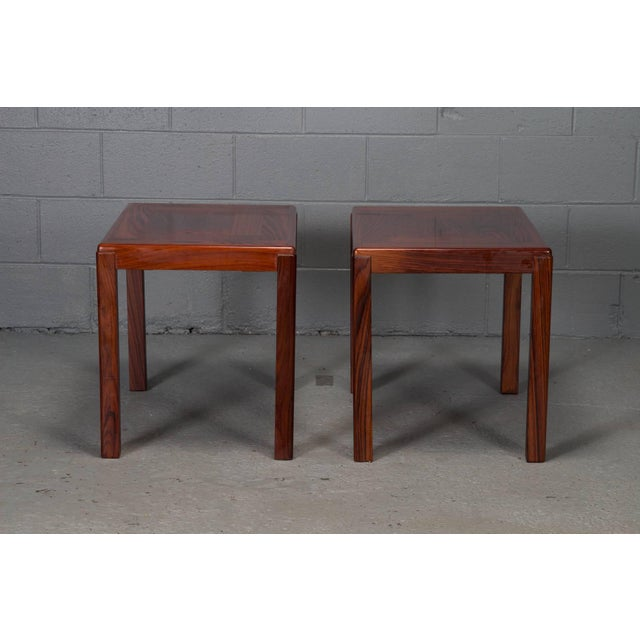 Pair of Danish modern rosewood side tables.