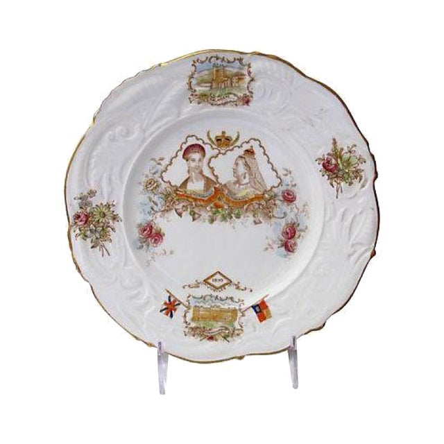 1897 Hand-Painted Queen Victoria Jubilee Plate For Sale