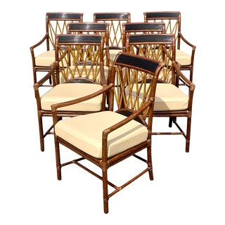 Vintage Coastal McGuire Rattan Dining Chairs - Set of 8 For Sale