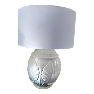 Large White Ceramic Sea Clam Shell Design Table Lamp W/ White Shade For Sale