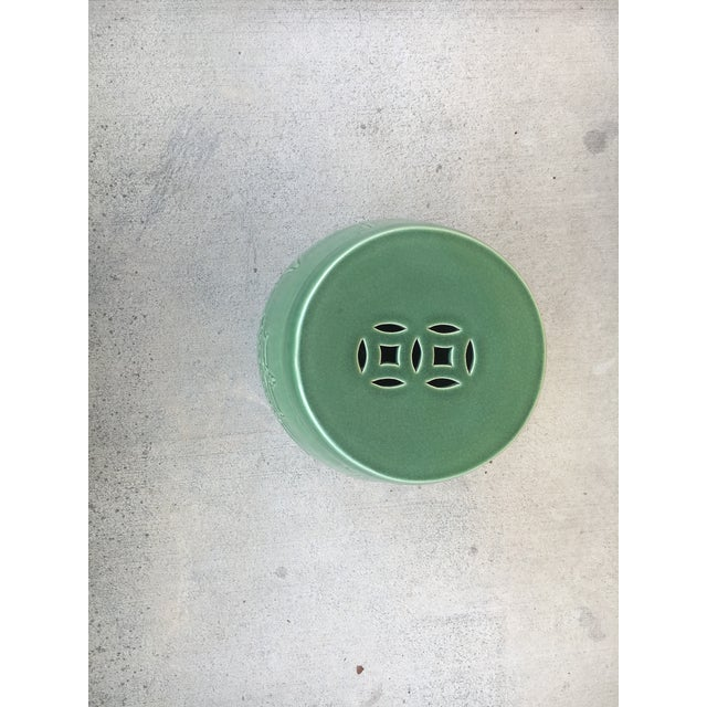 Asian Vintage Contemporary Chinoiserie Green Ceramic Garden Stool For Sale - Image 3 of 9