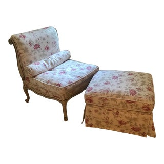 19th Century Antique Chaise Style Chair and Stool - 2 Pieces For Sale