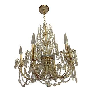 Vintage 1990s Brass and Crystal Chandelier For Sale