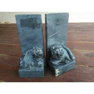 Vintage Black Carved Pyrophyllite Jaguar/Cat Bookends - A Pair Preview