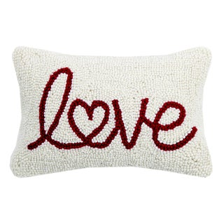 Love Heart Hooked Wool Pillow For Sale