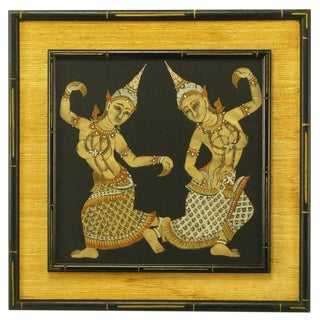 Framed Thai Painted Silk Tapestry For Sale