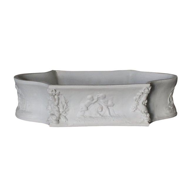 Rectangular White Bisque Floral Tray - Image 1 of 9