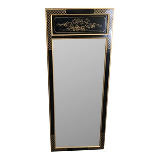 Drexel Black & Gold Chinoiserie Mirror For Sale