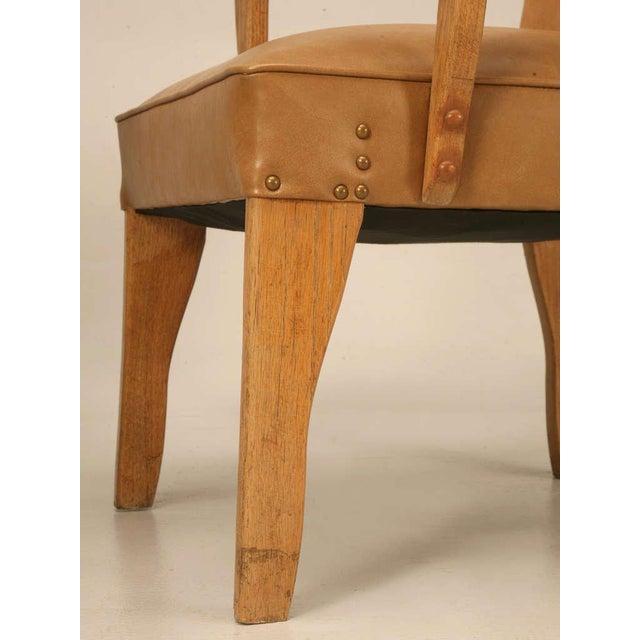 """Oak Magnificent Original """"Ranch Oak"""" Cowboy Arm Chairs W/Saddle Decoration - a pair For Sale - Image 7 of 10"""