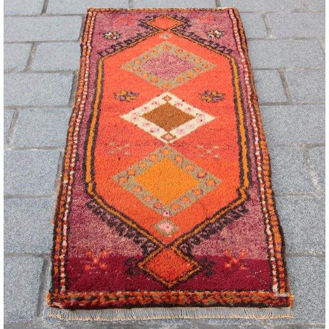 Vintage Turkish Orange Tone Wool Carpet - 3' 8'' X 1' 8'' - Image 2 of 11
