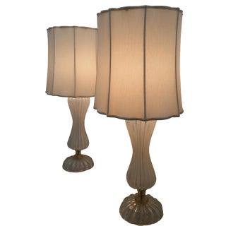 Seguso Murano Lamps - Pair For Sale