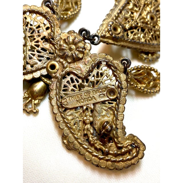 Gold 1940s Thief of Bagdad Jeweled Brooch For Sale - Image 8 of 9