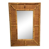 Image of Vintage Rattan and Wicker Mirror For Sale
