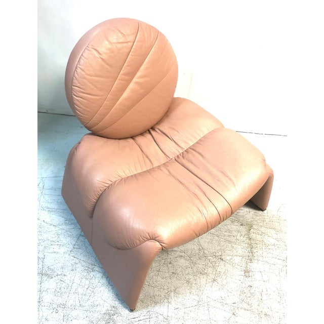 Modern Postmodern Pink Leather Lounge Chair, 1980s For Sale - Image 3 of 8