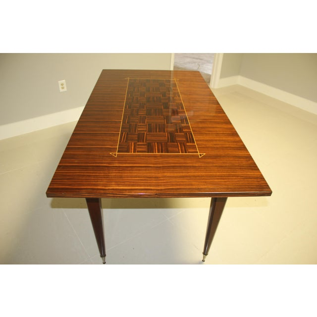 1940s Art Deco Exotic Macassar Ebony Writing Desk/Dining Table For Sale - Image 9 of 13