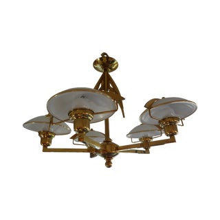 Hollywood Regency Italian Brass Chandelier For Sale