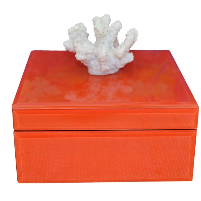 Coral & Orange Glass Trinket Box - Image 1 of 11