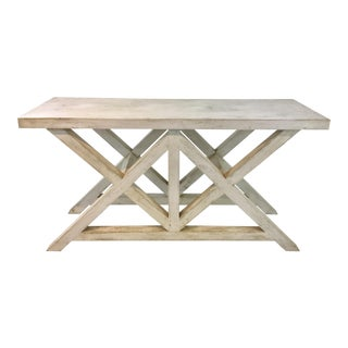 Painted Rustic White Wood Console Table For Sale