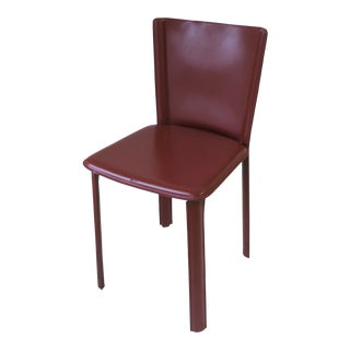 Designer Italian Red Burgundy Leather Side or Desk Chair by Frag For Sale