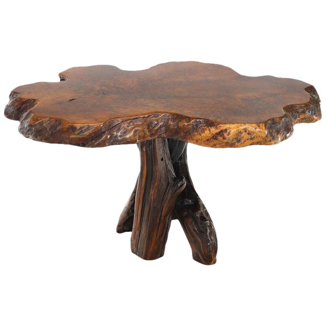 Burl Wood Natural Free Edge Slab Top Gueridon Center Table For Sale
