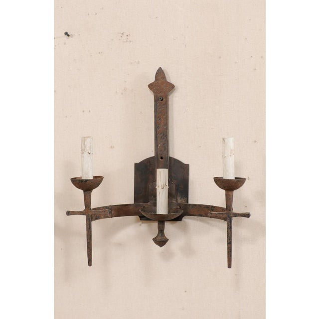 French Three-Light Mid-Century Torch-Style Iron Sconces - a Pair For Sale In Atlanta - Image 6 of 12