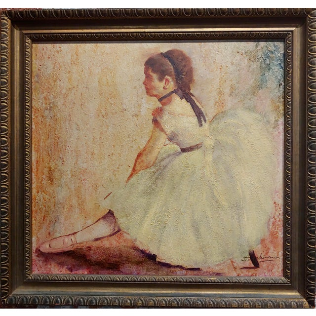 """Female Dancer stretching - Oil painting oil painting on board -Signed circa 1950s frame size 18 x 18"""" board size 14 x 14""""..."""