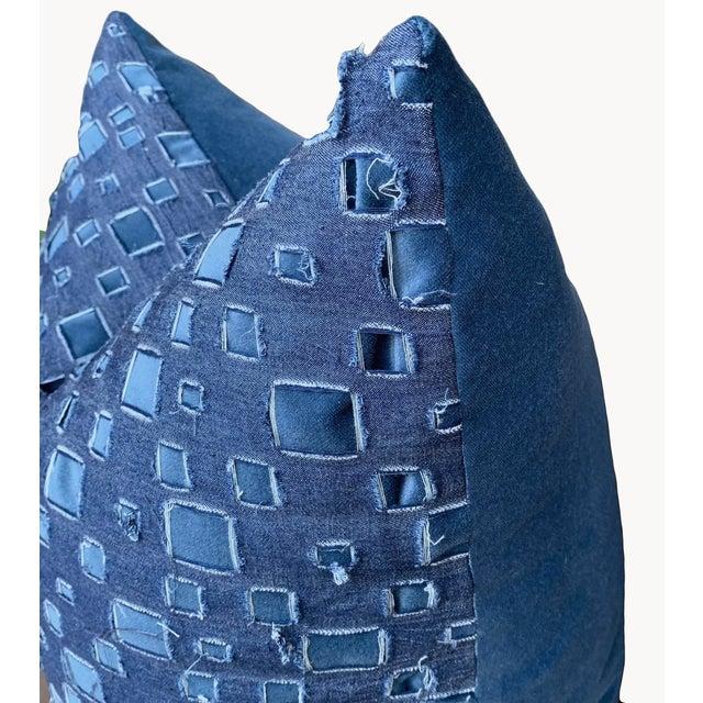 Boho Chic Boho Chic Grunge Denim and Blue Velvet Pillows - a Pair For Sale - Image 3 of 7