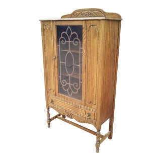 Art Deco Oak China Cabinet For Sale