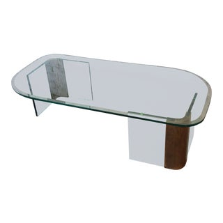 Asymmetrical Brass & Glass Coffee Table Attributed to Pace For Sale