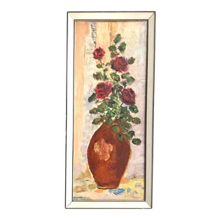 Mid Century Modern Small Floral Still Life Oil on Board, Signed For Sale