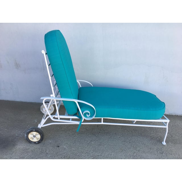 Steel Scrolling Reclining Outdoor / Patio Chaise Lounge by Woodard For Sale - Image 10 of 11