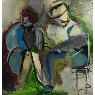 """The Martins"" Figurative Abstract Painting by C P #25 For Sale"