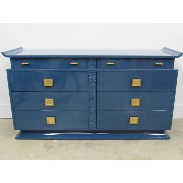 Jack Van Der Molen for Vanleigh Chinoiserie Pagoda Credenza with eight dovetail drawers and solid brass hardware with faux...