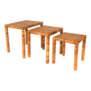 Boho Rattan Wrapped Nesting Tables S/3 For Sale
