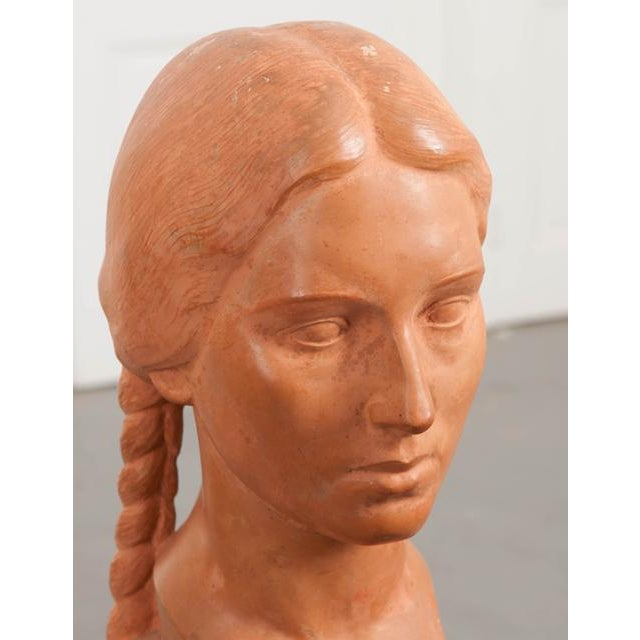French French Early 20th Century Terra Cotta Bust by Raymond Couvègnes For Sale - Image 3 of 9