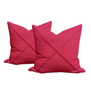 Transitional Red Linen Pillows - a Pair For Sale
