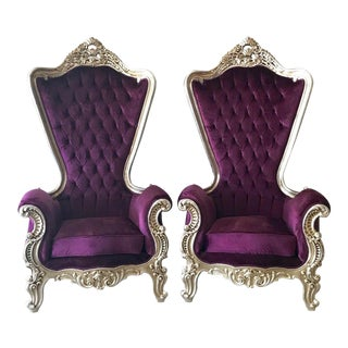 Custom Baroque Purple & Silver Chairs - a Pair For Sale