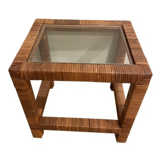 1970s Boho Chic Palm Beach Wicker Wrapped Side Table For Sale