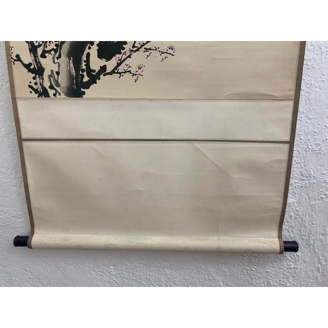 1950s Vintage Cherry Blossom and Moon Chinese Hanging Silk and Paper Scroll For Sale - Image 9 of 13
