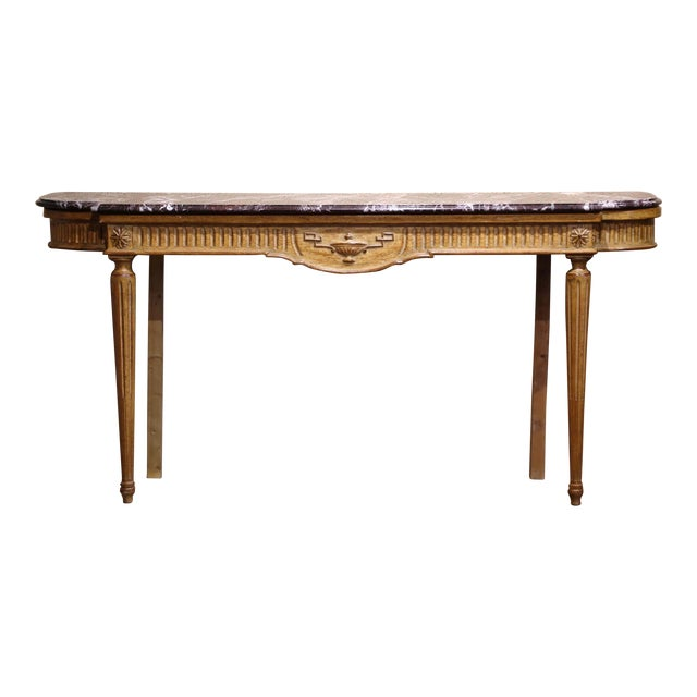 Midcentury French Louis XVI Carved and Painted Console Table With Marble Top For Sale