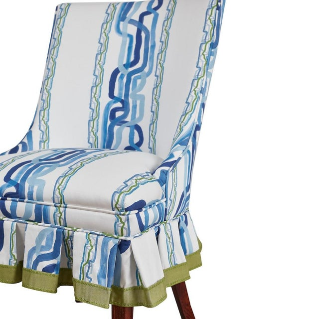 Mid 20th Century Mid 20th Century Occasional Chairs in Ferrick Mason's Forever Blue Whiskey Stripe - a Pair For Sale - Image 5 of 9