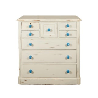 English Painted Chest of Drawers With Blue Knobs For Sale