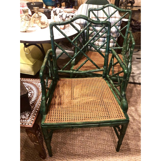 Wood Chinese Chippendale Faux Bamboo Armchairs - Set of 6 For Sale - Image 7 of 11
